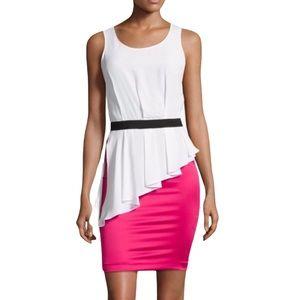 Love Moschino Sleeveless Colorblock Peplum Dress